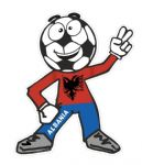 Novelty FOOTBALL HEAD MAN With Albania Albanian Flag Motif For Football Soccer Team Supporter Vinyl Car Sticker 100x85mm